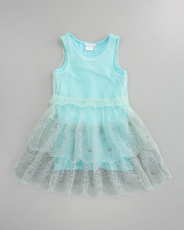Little Marc Jacobs Embroidered Tulle Jersey Dress