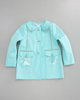 Little Marc Jacobs Coated Gabardine Trenchcoat, Teal