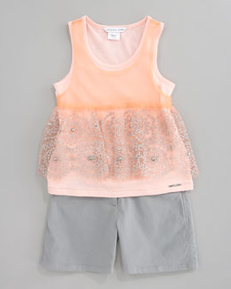 Little Marc Jacobs Embroidered Tulle Jersey Tunic & Stretch Sateen Shorts, Gray