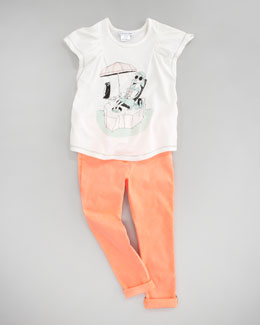 Little Marc Jacobs Private Island Tee & Stretch Sateen Slim-Fit Pants