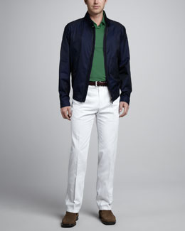 Loro Piana Cotton Rain Jacket, Pique-Knit Polo & St. Malo Cotton-Linen Pants