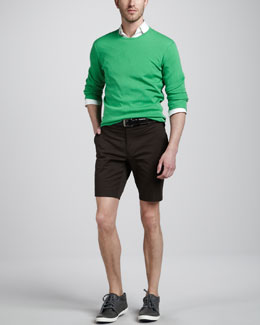 Ralph Lauren Black Label Ribbed Crewneck Sweater & James Stretch-Twill Shorts