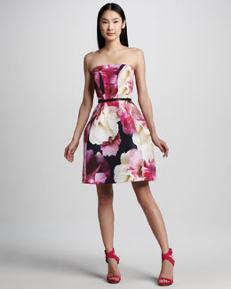 Monique Lhuillier Floral-Print Structured Dress & Slim Leather Belt