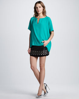 Diane von Furstenberg Beonica Draped Top & Elley Studded Leather Skirt