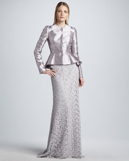 Carmen Marc Valvo Satin Peplum Jacket & Sequined Lace Skirt