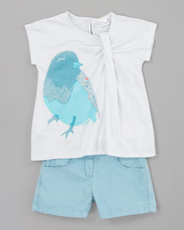 Chloe Bird Pleated Jersey Tee & Stretch Shorts
