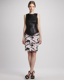 Tibi Sleeveless Leather Top & Printed Pencil Skirt