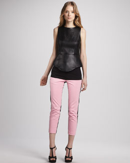 Tibi Sleeveless Leather Top & Colorblock Capri Pants