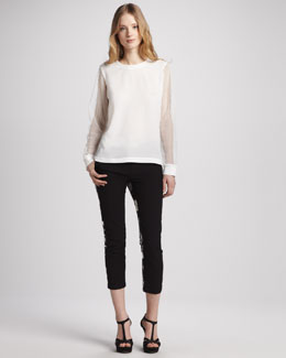 Tibi Mesh-Sleeve Sweatshirt & Printed Cropped Pants