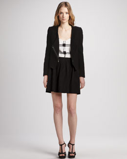 Tibi Asymmetric Zip Jacket, Check-Print Camisole & Pleated A-Line Skirt