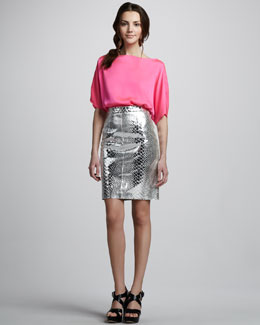 Milly Dolman-Sleeve Top & Mirrored Leather Skirt