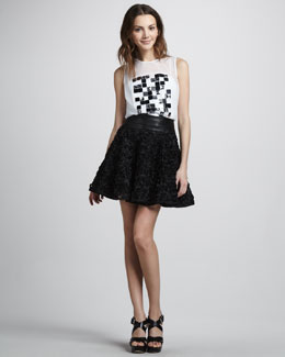 Milly Embellished Shell & Delphine Swing Skirt