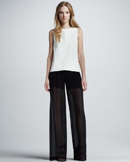Vince Leather Sheer-Back Top & Sheer Silk Trousers