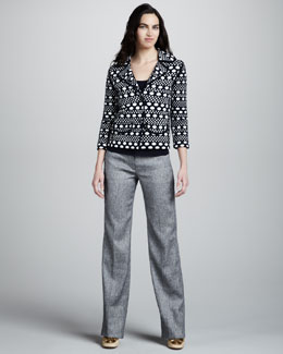 Tory Burch Elijah Printed Knit Jacket, Daylen Knit Tank & Delaney Tweed Pants