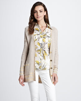 Tory Burch Mallorie Ribbed Cardigan & Brigitte Printed Blouse