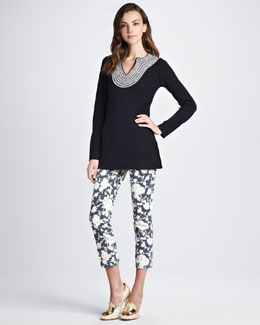 Tory Burch Franky Tunic and Alexa Cropped Skinny Pant