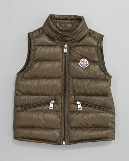 Moncler Gui Long Season Packable Quilted Vest, Military
