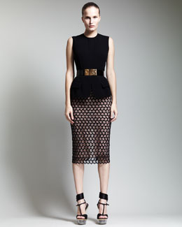 Alexander McQueen Faux-Flap Peplum Top, Bee-Buckle Belt & Macrame Below-Knee Pencil Skirt