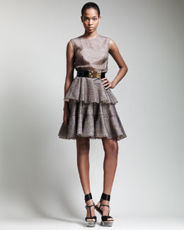 Alexander McQueen Tiered Lace Tulle Dress & Bee-Buckle Belt