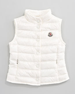 Moncler Llane Long Season Packable Quilted Vest, Cream