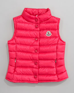Moncler Llane Long Season Packable Quilted Vest, Fuchsia
