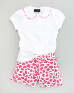 Oscar de la Renta Scalloped Polo Shirt & Camelia Printed Shorts