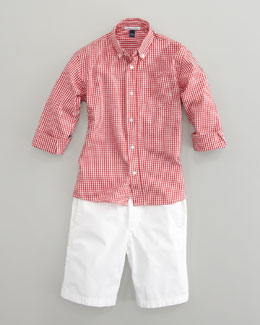 Oscar de la Renta Long-Sleeve Check Shirt & Lightweight Twill Shorts, White