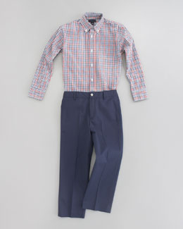 Oscar de la Renta Long-Sleeve Check Shirt & Classic Trouser