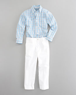 Oscar de la Renta Long-Sleeve Check Shirt & Trouser Pants, White
