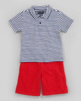 Oscar de la Renta Striped Knit Polo Shirt & Lightweight Twill Shorts