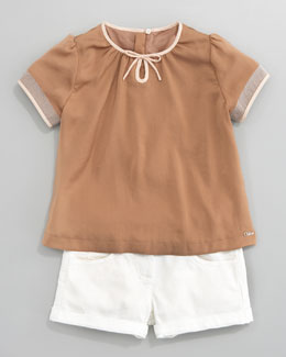 Chloe Satin Shimmer-Trim Blouse & Stretch Shorts