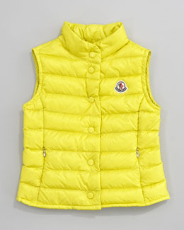 Moncler Llane Long Season Packable Quilted Vest, Neon Yellow