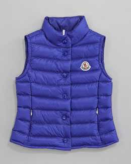 Moncler Llane Long Season Packable Quilted Vest, Bright Blue