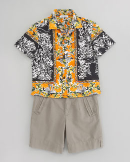 Dolce & Gabbana Printed Poplin Short Sleeve Shirt & Garment Dyed Short Separates