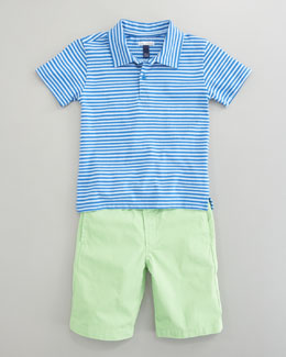 Oscar de la Renta Striped Knit Polo & Lightweight Twill Shorts, Lime