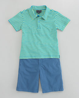 Oscar de la Renta Stripe Knit Polo & Lightweight Twill Shorts