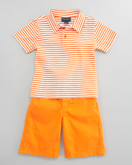 Oscar de la Renta Striped Knit Polo Shirt & Lightweight Twill Shorts, Orange
