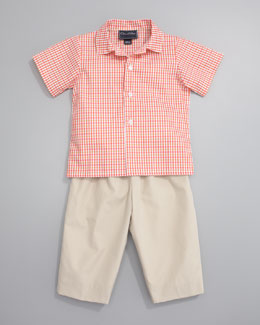 Oscar de la Renta Short Sleeve Check Shirt & Classic Beige Trousers
