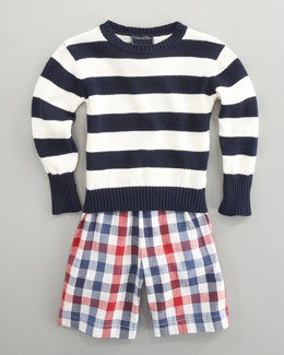 Oscar de la Renta Striped Knit Sweater & Plaid Shorts