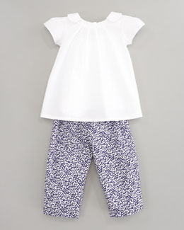 Oscar de la Renta Pleated Big Blouse & Flower Baby Pants
