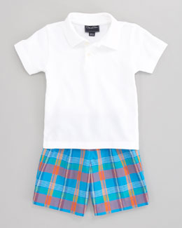 Oscar de la Renta Solid Knit Polo Shirt & Madras Plaid Short Separates