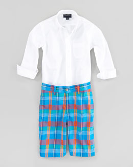 Oscar de la Renta Long-Sleeve Poplin Shirt & Madras Shorts