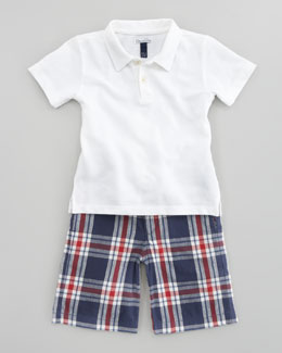 Oscar de la Renta Solid Knit Polo Shirt & Plaid Shorts