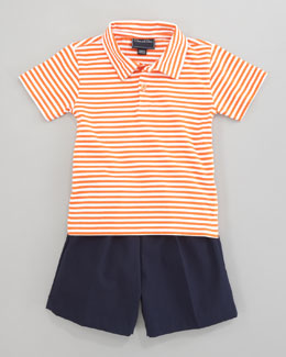 Oscar de la Renta Striped Knit Polo & Elastic-Waist Shorts