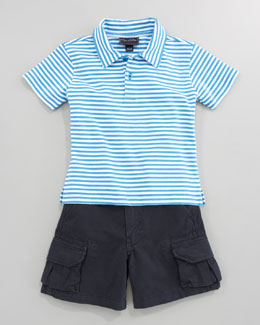 Oscar de la Renta Striped Knit Polo & Lightweight Twill Shorts, Navy
