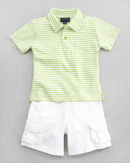 Oscar de la Renta Striped Knit Polo Shirt & Lightweight Twill Shorts, White