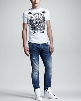 DSquared2 Skull & Stars Graphic Tee & Splash-Print Faded Slim Jeans
