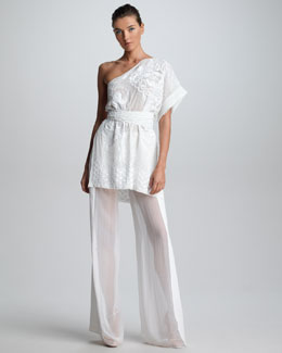 Emilio Pucci Embroidered One-Shoulder Tunic & Sheer-Panel Wide-Leg Pants