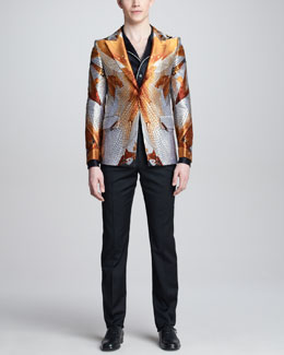 Alexander McQueen Dragonfly-Print Jacket, Piped Pajama Shirt & Side-Stripe Tuxedo Pants