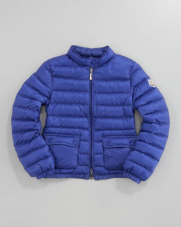Moncler Lans Long Season Packable Jacket, Bright Blue